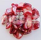 decent crystal red shell flower brooch under $ 40