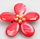 Beautiful Natural Watermelon Red Pearl Drop Shape Shell Flower Brooch