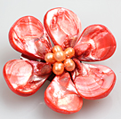 Beautiful Natural Red Pearl Shell Flower Brooch   under $ 2.5