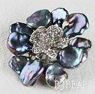 beautiful rose shape black reborn pearl  brooch with rhinestone