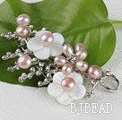 sparkly purple pearl flower brooch with rhinestone
