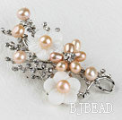 sparkly pink pearl flower brooch with rhinestone