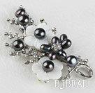 sparkly black pearl flower brooch with rhinestone