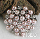noble purple pearl brooch with rhinestone