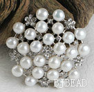 noble white pearl brooch with rhinestone