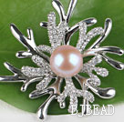 beautiful natural pink color pearl brooch with rhinestone under $ 40