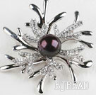 beautiful black color pearl brooch with rhinestone under $100