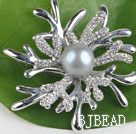 beautiful gray color pearl brooch with rhinestone under $100