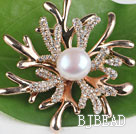 beautiful white color pearl brooch with rhinestone under $ 40