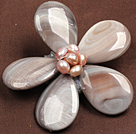 Beautiful Natural Grey Pearl Drop Shape Shell Flower Brooch