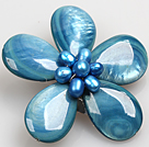 Beautiful Natural Blue Pearl Drop Shape Shell Flower Brooch