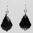 Drop Shape Black Color Baroque Austrian Crystal Earrings