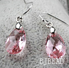 Tear Drop Shaped 10*15mm Pink Austrian Crystal Earrings
