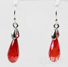 Drop Shaped 10*15mm Red Color Austrian Crystal Earrings under $ 40