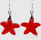 Bright Red Color Austrian Crystal Starfish Earrings