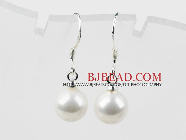 Classic Design Round 8mm White Seashell Beads Earrings