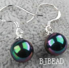 Classic Design Round 8mm Black with Colorful Seashell Beads Earrings