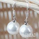 Classic Design Round 8mm White Seashell Beads Earrings under $ 40
