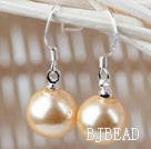 Classic Design Round 10mm Golden Color Seashell Beads Earrings under $ 40