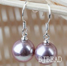 Classic Design Round 10mm Purple Seashell Beads Earrings under $ 40