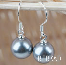 Classic Design Round 10mm Gray Seashell Beads Earrings under $ 40