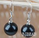 Classic Design Round 10mm Black Seashell Beads Earrings under $ 40
