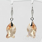 18mm Fish Shape Golden Champagne Austrian Crystal Earrings under $ 40