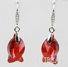 18mm Fish Shape Red Austrian Crystal Earrings under $ 40