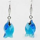 18mm Fish Shape Dark Blue Austrian Crystal Earrings under $ 40