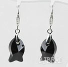 18mm Fish Shape Black Austrian Crystal Earrings under $ 40