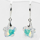 18mm Flower Shape White with Colorful Austrian Crystal Earrings under $ 40