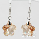18mm Flower Shape Golden Champagne Color Austrian Crystal Earrings under $ 40
