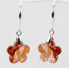 18mm Flower Shape Amber Color Austrian Crystal Earrings under $ 40