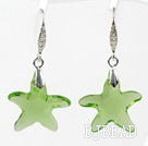 22mm Star Shape Light Green Austrian Crystal Earrings under $ 40