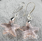 22mm Star Shape Baby Pink Austrian Crystal Earrings under $ 40