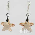 22mm Star Shape Champagne Color Austrian Crystal Earrings under $ 40