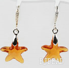 22mm Star Shape Amber Color Austrian Crystal Earrings