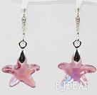 22mm Star Shape Pink with Colorful Austrian Crystal Earrings under $ 40