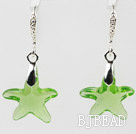 16mm Star Shape Apple Green Austrian Crystal Earrings