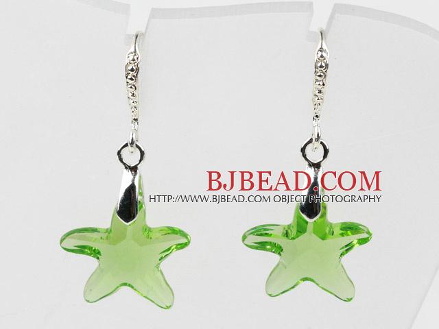 16mm Star Shape Apple Green Austrian Crystal Earrings