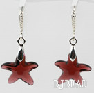 16mm Star Shape Purple Red Color Austrian Crystal Earrings under $ 40