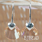 16mm Champagne Color Scallops Shape Austrian Crystal Earrings under $ 40