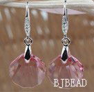 16mm Pink Color Scallops Shape Austrian Crystal Earrings