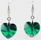 18mm Heart Shape Dark Green Austrian Crystal Earrings under $ 40