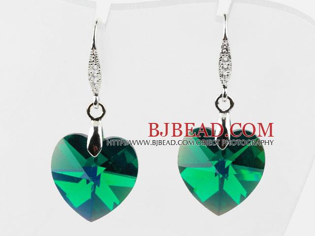 18mm Heart Shape Dark Green Austrian Crystal Earrings