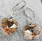 14mm Heart Shape Golden Champagne Austrian Crystal Earrings