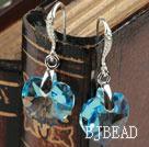 14mm Heart Shape Blue Sky Color Austrian Crystal Earrings under $ 40