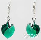 14mm Heart Shape Dark Green Austrian Crystal Earrings