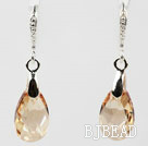 16mm Golden Champagne Color Teardrop Shape Austrian Crystal Earrings under $ 40
