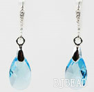 16mm Sky Blue Color Teardrop Shape Austrian Crystal Earrings under $ 40